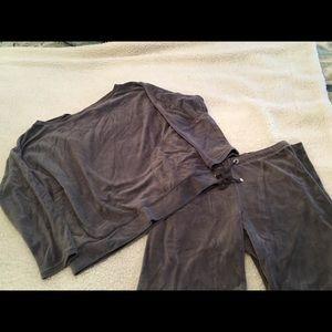 Victoria's Secret Grey Velour Sweat Suit